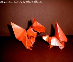 origami squirrel and her baby